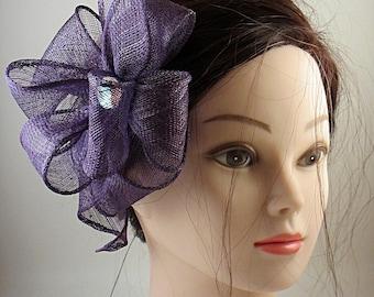 head jewelry, purple sinamay, flower shape