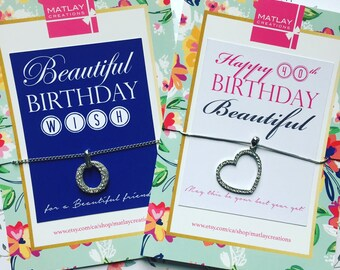 Custom Birthday Necklace Card - Crystal Necklace