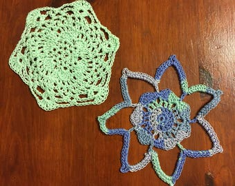 Two Crocheted Mini Doilies ~ Seven Point Star & Hexagon