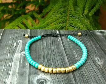 Turquoise and Gold Seed Bead Waterproof Bracelet / Waterproof and Adjustable