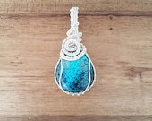 RESERVED Silver wire wrapped blue azurite pear drop pendant necklace