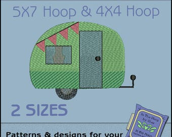 ITH Tiny Camper Machine Embroidery Design - Camping Embroidery File - Filled Stitches