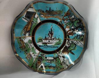 Vintage 1970's Walt Disney World Candy Bowl - The Magic Kingdom Decorative Fluted Candy Bowl