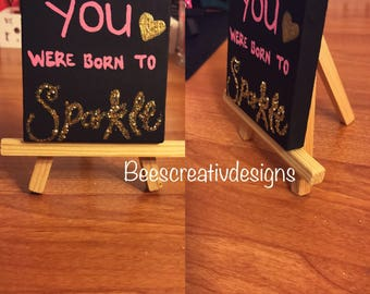 Hand painted canvas with easel stand included