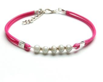 Waxed cord bracelet pink and pearly white color fancy Bracelet ♦ glass beads