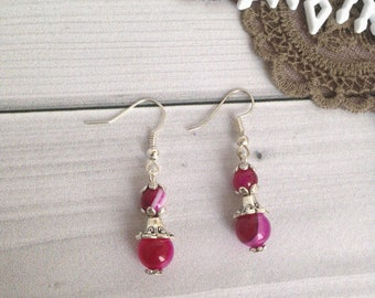 Pink agate earrings Gift for woman Earrings gift Long earrings Elegant earrings