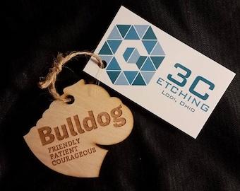 Bulldog Dog Wood Ornament