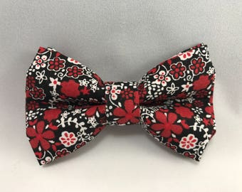 Red Floral - Clip Bow Tie