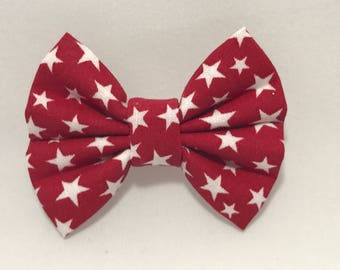 Red with White Stars - Fabric Barrette Bow