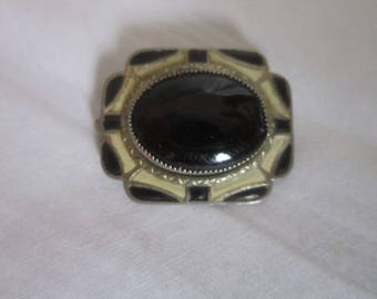 Antique Art Deco Enameled & Black Glass Brooch