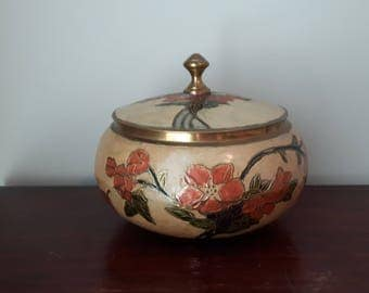 Vintage Brass Etched Bowl with Lids, Floral Design, Made in India