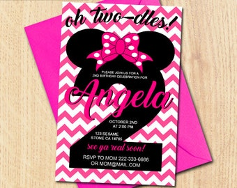 Minnie Mouse 2th Birthday,Minnie Mouse Birthday,Minnie Mouse Birthday Invitation,Minnie Mouse Invitation,Minnie Mouse Birthday Party,Minnie