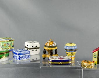 Vintage Porcelain Trinket Boxes Lot - Jewelry Ring Boxes