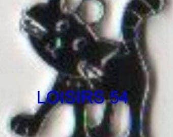 Cat black enamel pendant 25 mm