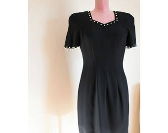 1990s Liz Claiborne black dress with faux pearl detailing