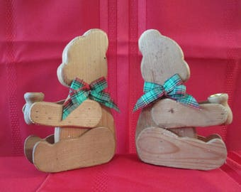 Christmas Teddy Bear Candle Holders, Wood Teddy Bear Candle Holders, Teddy Bear Candle Holders,