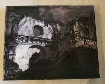 Lost in the Ruins, handmade gift, Photo transfer, Ruins, Guatemala, Photography, black and white, decor, wall art, canvas, gift, custom