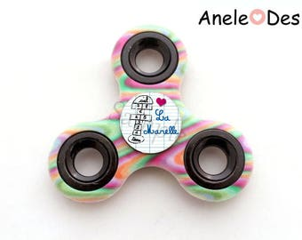 Spinner Hand Spinner - Hopscotch - pink green multicolor pink cabochon heart school trend for children