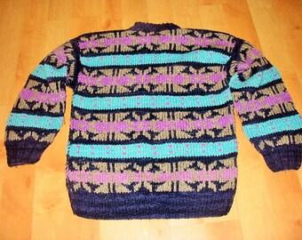 WOOL FAIR ISLE Sweater / Handknit / Handmade / Chunky / Bulky / Crewneck / Pullover / Womens / Mens / Boys / Girls / Teen /Vintage/Navy Blue