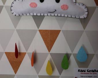 Rainbow Raindrops Cloud wall decoration