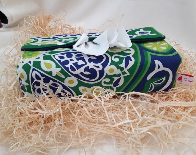 Large fabric rectangle tissue box cover patterns khayameyya Egyptian. Ethnic room garden or porch decor