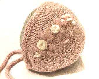 Alpaca silk baby bonnet Neutral knitted bonnet Baby girl knit hat Embroidered bonnet Spring bonnet
