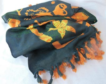 Excellent Vintage Silk Sarong Used Tropical Motifs Green Orange and Yellow