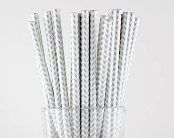 Silver Chevron Paper Straws - Mason Jar Straws - Party Decor Supply - Cake Pop Sticks - Party Favor