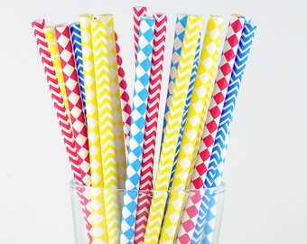 Checkered/ Diamond Mix Paper Straws - Blue/ Yellow/ Red - Party Decor Supply - Cake Pop Sticks - Party Favor