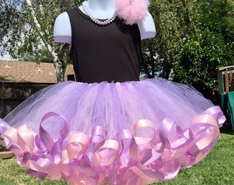 Cotton Candy tutu, satin ribbon and tulle skirt, pink and purple tutu, ribbon edge tutu