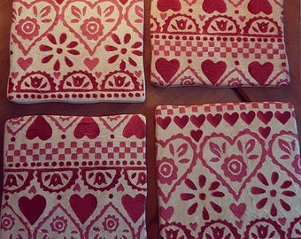 Hand Decorated Emma Bridgewater Style Sampler Heart Coasters
