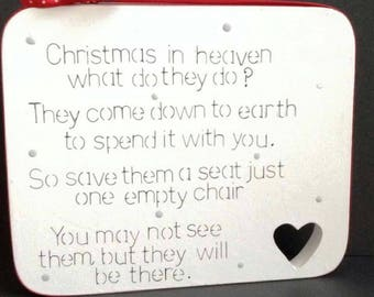 Christmas in heaven frestanding wooden plaque sign special sign remember loved ones at Christmas