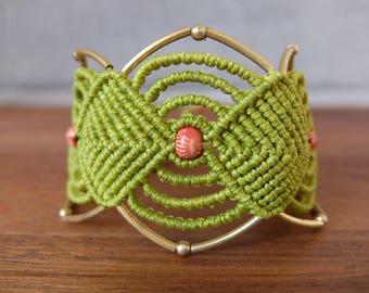 Macrame bracelet lime green