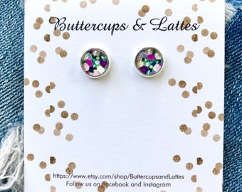 Small Pink and Purple Poppy Stud Earrings 8mm