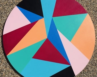 """SALE: PRICE REDUCED!!. Large Acrylic Abstract Geometric Circle Canvas Painting """"Summer Splice"""""""