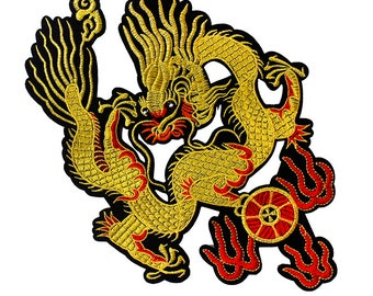 1piece Yellow Dragon with Fire Wheel Iron on Patches Embroidery Applique Lace Motifs Venise Embellishment Sewing for Jacket TH291