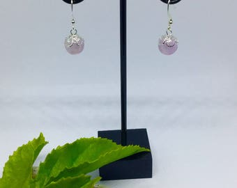 Pink and silver dainty earrings