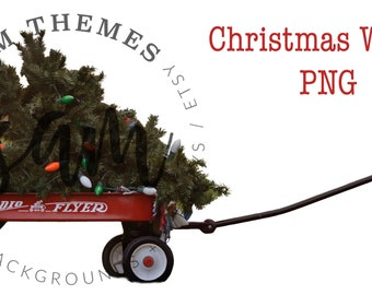 Christmas Wagon digital OVERLAY, Wagon Stock, Wagon Cutout, Wagon PNG, Wagon Background, Wagon Backdrop, Wagon Composite, Child