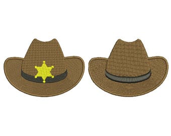 Cowboy Sheriff Hat Embroidery Design Embroidery Design Fill Machine Western Embroidery Instant Download Digital File EN2018_F_FSE