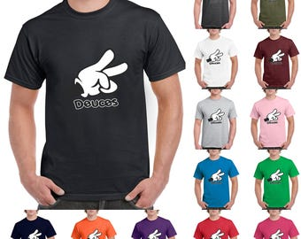 Cartoon Hands Deuces Funny, Fashion T-Shirt