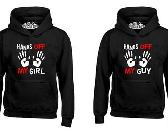 Couple Hoodies Hands Off My Girl and Hands Off My Guy Funny Couples Cute Matching Love Couples Valentine's Day Gift