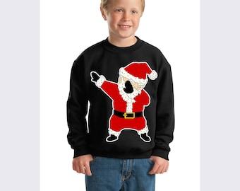 Dabbing through Snow Dab Dance Santa Ugly Christmas Sweater Dabbing Santa Youth Crewneck Sweatshirt Christmas Gift Xmas Shirt