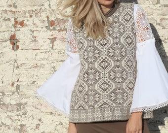 Printed sleeveless top, seventies top