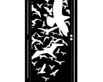 Artistic Steel Gate - Bird Metal Art - Hitchcock Steel Art - Bird Decorative Panel - Flying Steel Gate - Flock of Birds Steel Art Panel