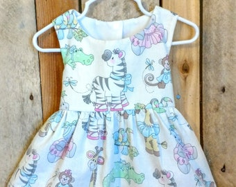 Zebra dress, zoo animal dress, zoo themed party, zoo first birthday dress, party dress, toddler dress, twirl dress, baby animal dress,