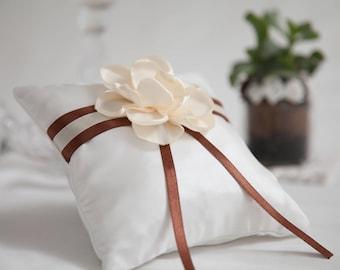 Chocolate satin ribbon white satin flower wedding ring bearer pillow, Wedding Ring Pillow, Wedding Pillow, Satin Ring Pillow, Ring Cushion