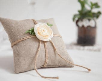 Linen wedding ring bearer pillow with white satin rose, Wedding Ring Pillow, Wedding Pillow, Linen Ring Pillow, Rustic Wedding, Ring Cushion