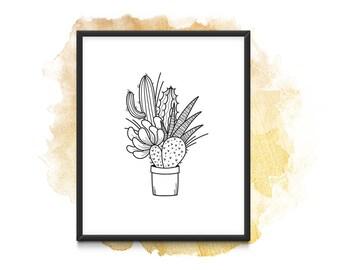 Cactus Bouquet - Instant Download (A4)