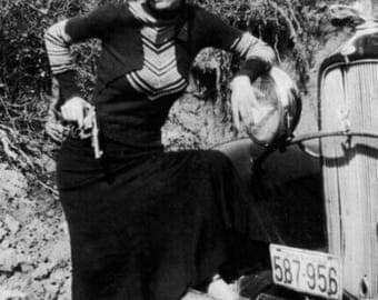 "An 8 x 10"" Glossy Reproduction photo of The Outlaw Bonnie Parker of Bonnie & Clyde."