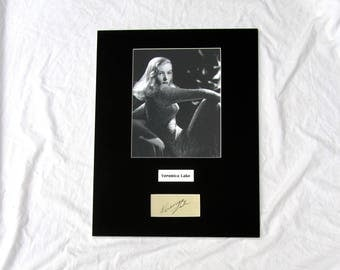 vintage Veronica Lake Autograph Autographed Signed Display Art Piece black and white photograph photo artwork